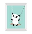 panda ride on swing cute fat cartoon vector image