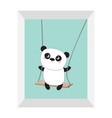 panda ride on the swing cute fat cartoon vector image