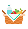 picnic basket with fruit and water icon flat vector image