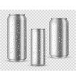 realistic cold cans silver or aluminium metal vector image vector image