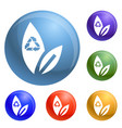 recycle leaf icons set vector image