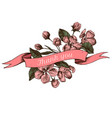ribbon design of apple flowers with thank you sing vector image vector image