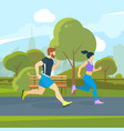 runners in city park urban lifestyle vector image vector image