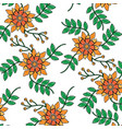 seamless pattern flower branch leaves nature vector image vector image