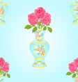 Seamless texture alabaster vase with pink roses vector image vector image
