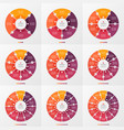 set of circle chart infographic template with 4-12 vector image vector image