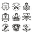 set of smokers club gentlemen club labels design vector image vector image