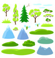 spring set of trees mountains and hills seasonal vector image
