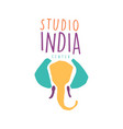 studio india logo colorful hand drawn vector image vector image