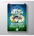 Summer Beach Party Flyer Design with flowers vector image vector image