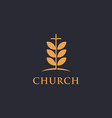 tree leaf and cross church logo icon template vector image