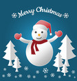 winter holiday snow and snowman for merry vector image vector image