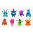 Cute cartoon monsters Alien or ghost set of icons vector image