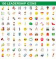100 leadership icons set cartoon style vector image