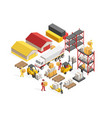 warehouse logistics isometric concept vector image