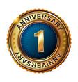 1 years anniversary golden label vector image vector image