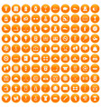 100 basketball icons set orange vector image vector image