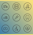 antibiotic icons line style set with pulse crutch vector image vector image