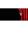 background with red curtain and hand vector image vector image