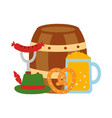 barrel beer with oktoberfest icons vector image vector image