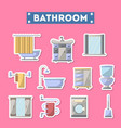 bathroom furniture icon set in flat style vector image