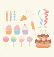 birthday cake cupcake ice cream candles confetti vector image