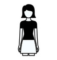 black silhouette thick contour of faceless full vector image vector image