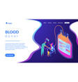 blood donation isometric 3d landing page vector image vector image