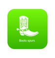 boot spurs icon green vector image