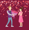 bouquet of flowers to girlfriend valentine vector image vector image