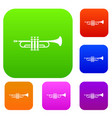 brass trumpet set collection vector image vector image