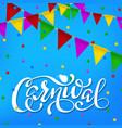 carnival banner white paper lettering label vector image vector image
