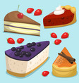 cartoon cake fresh tasty dessert sweet pastry pie vector image vector image