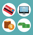 color background icons investment economy in vector image