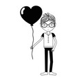 contour man with mustache and heart balloon in the vector image vector image
