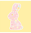 cute easter bunny with doodle decorative hand vector image vector image