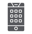 dial number on phone glyph icon mobile and call vector image vector image