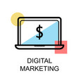 digital marketing icon and laptop on white vector image vector image