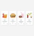 fast food drink takeaway menu cartoon ux ui vector image vector image