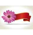 Flower with ribbon vector image vector image