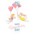 gey women characters flying heart balloons vector image vector image