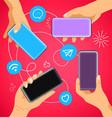 hands with modern smartphones social media vector image vector image