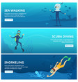 horizontal banners with sea scuba divers funny vector image vector image