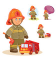 icon small child firefighter and his vector image vector image