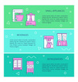 kitchen appliances concept flyer templates in line vector image