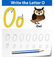 letter o tracing alphabet worksheets vector image