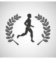 man runner sport emblem laurel branch vector image
