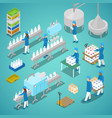 milk factory automated production isometric vector image vector image