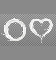 milk splash frames round heart with white drops vector image