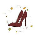 modern stylish shoes of burgundy color shoes on vector image vector image